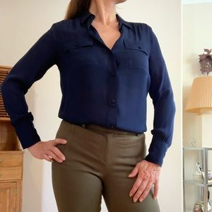 J Crew Blythe Silk Navy Button Down Blouse
